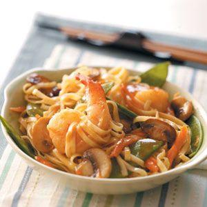 Thai Shrimp Linguine Recipe from Taste of Home -- shared by Paula Marchesi of Lenhartsville, Pennsylvania  #quick #dinner