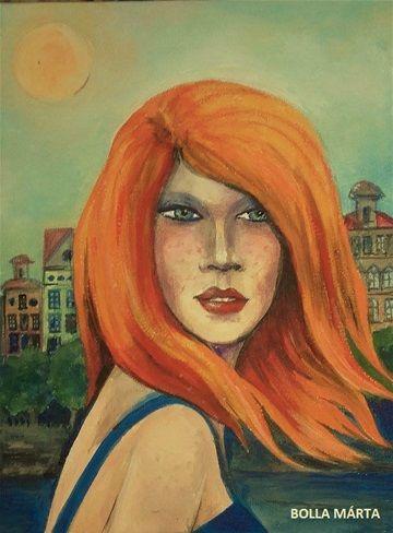Red Peril - Vörös veszedelem Acrylic on canvas - 18 x 24 cm - by Márta Bolla -  Hungary