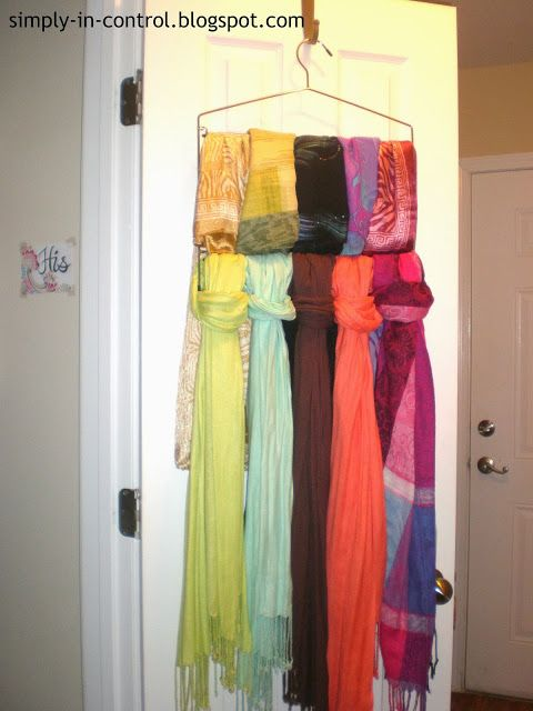 Realistic Coat Closet Organization - This pant hanger allowed me to put up 10 scarves instead of 1!