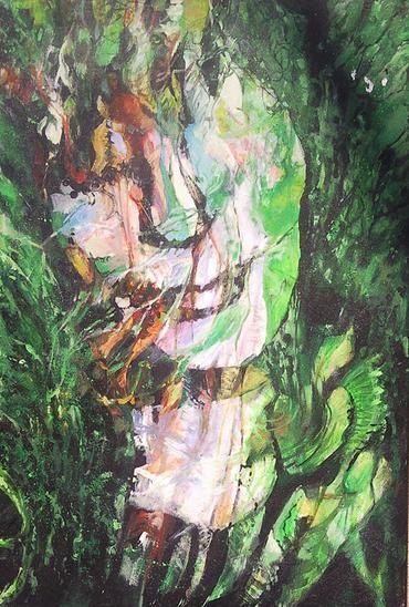 Danuta Krajewska / Magda in the green / acrylic on canvas / 50 x 70cm http://dankrajewska.wix.com/painting