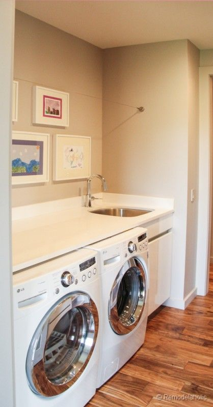Small Sink Next To Washer Dryer Continuous Countertop