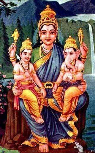 Parvati with Ganapati and Kartikeay