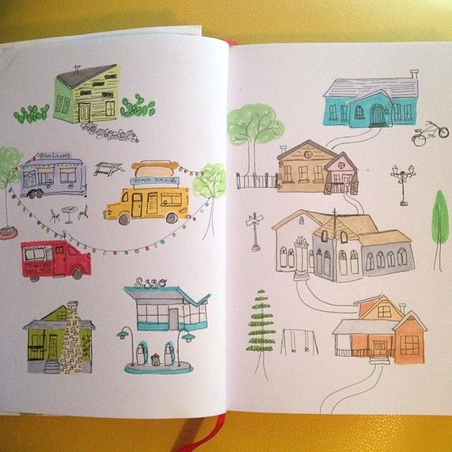 Sketchbook doodles of the South Congress area in Austin
