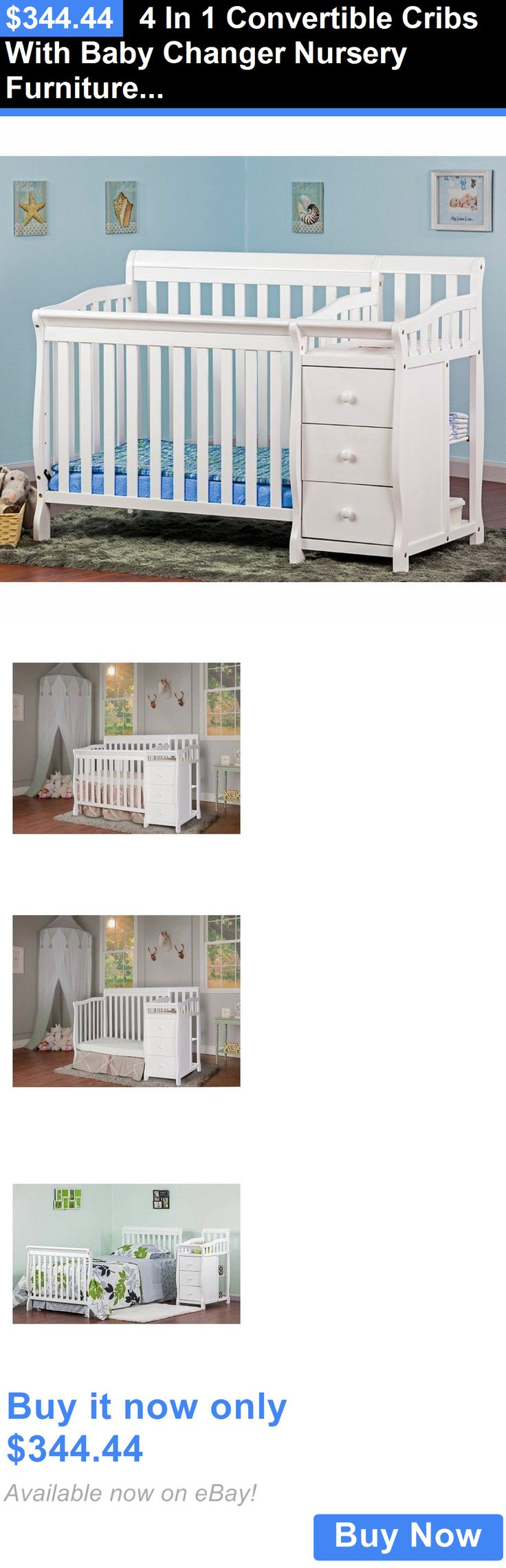 Baby Nursery: 4 In 1 Convertible Cribs With Baby Changer Nursery Furniture Sets Baby Furniture BUY IT NOW ONLY: $344.44