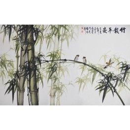 Papier peint chinois - Les bambous et les oiseaux - En noir, blanc et rouge