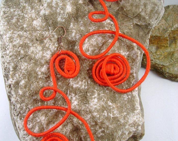 Orange Summer yarn-wrapped earrings/ orange/ cotton yarns/ thread-wrapped/ handmade/