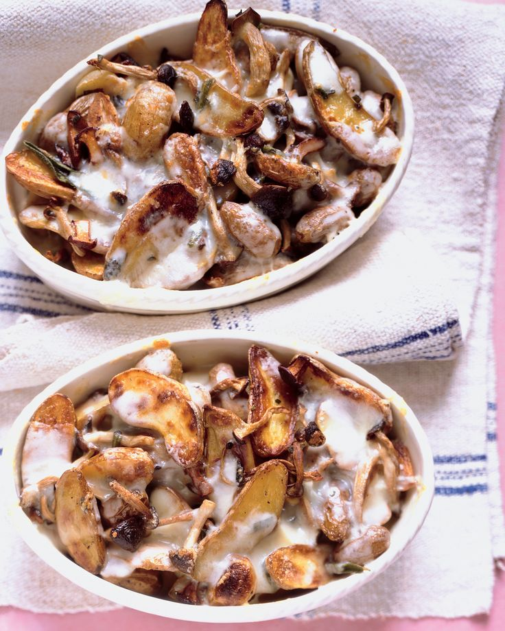 Roasted Potatoes and Mushrooms with Melted Taleggio Cheese Recipe | Martha Stewart