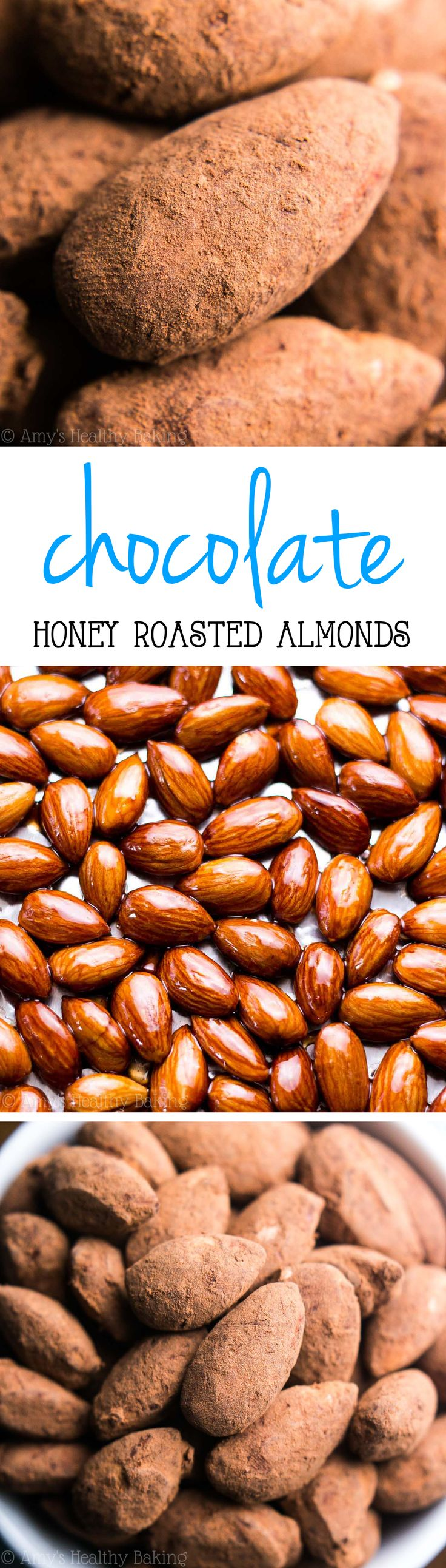 Chocolate Honey Roasted Almonds -- I love this easy & healthy snack! SO much better than anything store-bought!