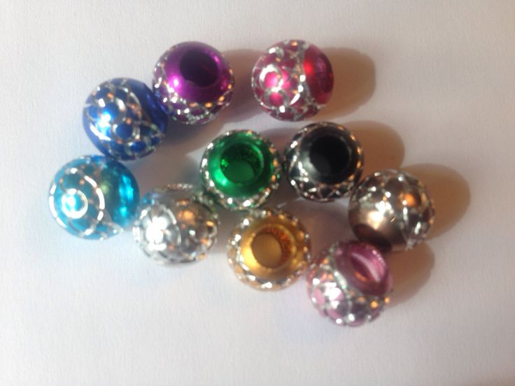 Metallic Etched beads - spacer beads, charm, for jewellery making, set of 10 by FionasHobbyHut on Etsy