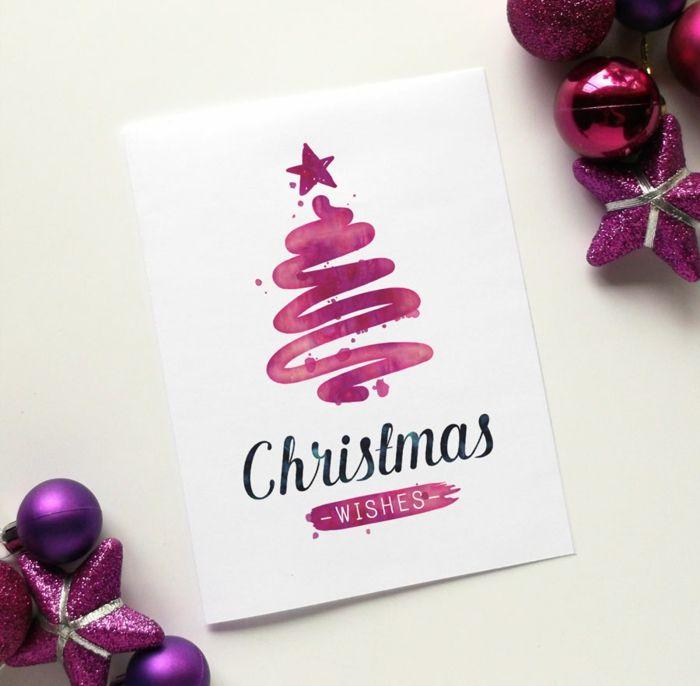 Aquarell Weihnachtskarte einfach und schnell selber machen, lilafarbener Weihnachtsbaum, Glückwünsche zu Weihnachten