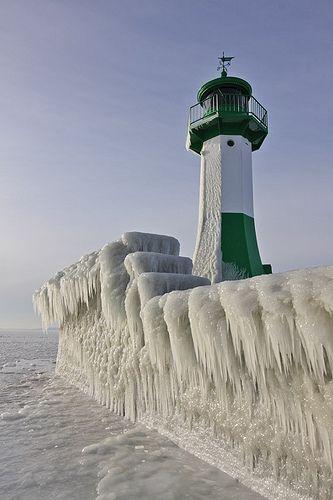 Frozen Lighthouse.. Rugen Island, Baltic Sea, Germany (by Sandra OTR on Flickr)