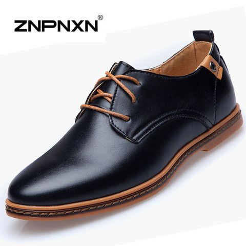 Big Size 48 Mens Shoes Casual Autumn Flats Shoes Men Black PU Leather Oxfords Shoes For Men Flats Zapatos Hombre 2015