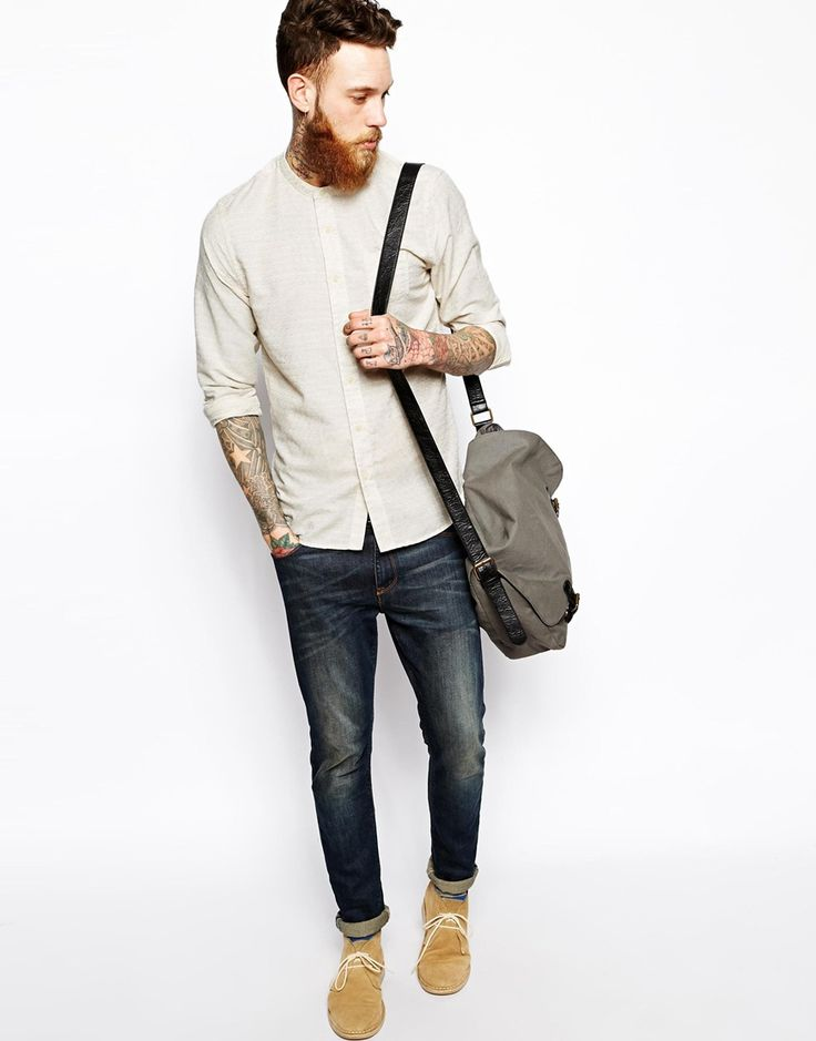 Image 4 of ASOS Grandad Shirt In Long Sleeve With Dobby