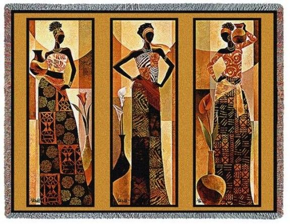 One of my favorite Keith Mallett Tapestry Throws! This one is entitled Namirya and actually features artwork inspired by three seperate pieces that he created entitled: Amira, Malaika and Bahiya.