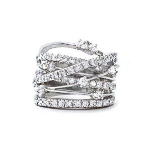 Crossover CZ Rhodium Plated Wide Band Costume Fashion Statement Ring
