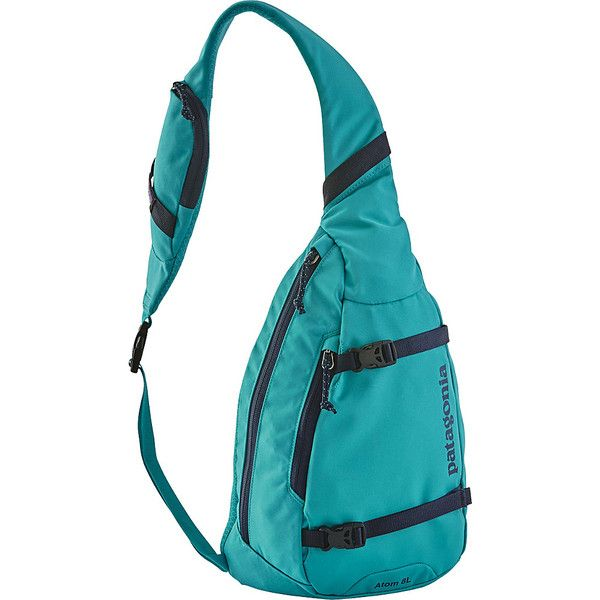 Patagonia Atom Sling ($49) ❤ liked on Polyvore featuring bags, backpacks, blue, single strap backpack, day pack backpack, blue messenger bag, patagonia and sling messenger bag
