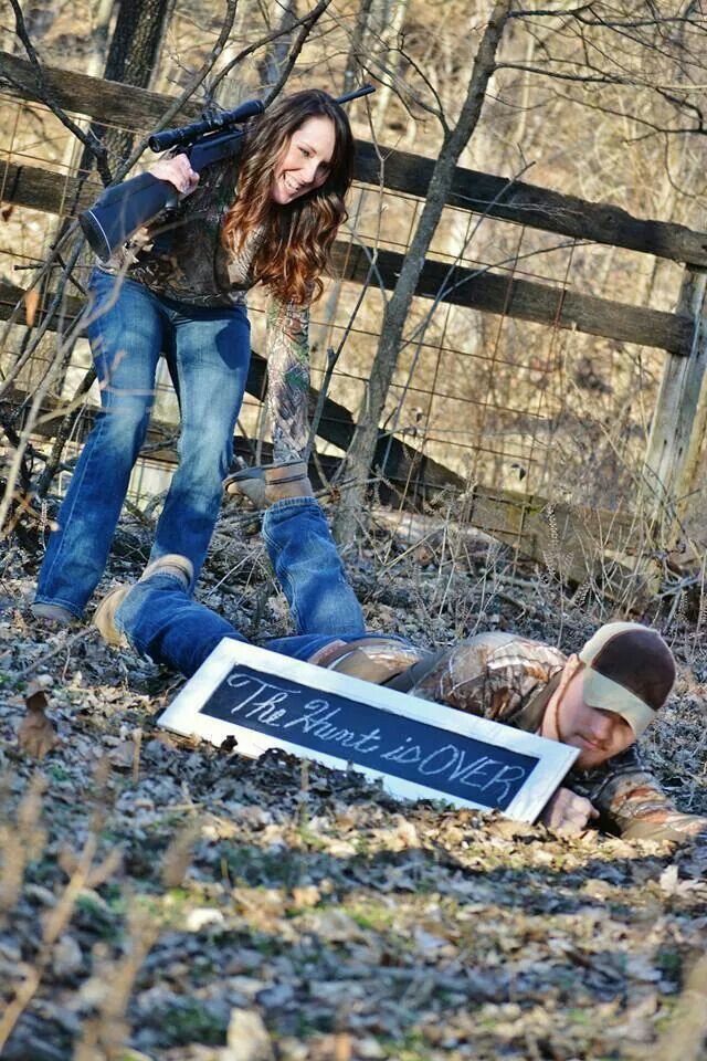 Perfect funny engagement picture! Hunting, camo, outdoors, rustic :: Follow #OutbackWesternWear for more great pins!