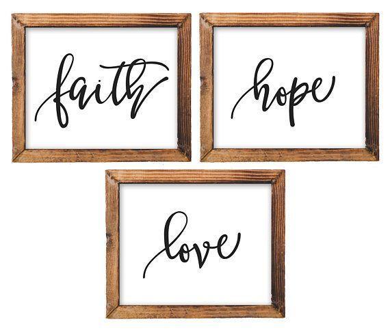 Printable Wall Art Faith Hope Love Printable Bible Nursery Decor