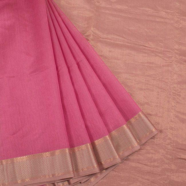 Handwoven Pink Maheshwari Silk Cotton Saree With Zari Border 10013204 - creative - AVISHYA.COM