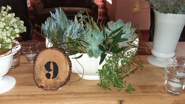 Rustic all natrual greenery centrepiece with succulents and pallet runner