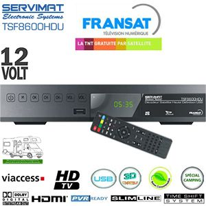 SERVIMAT TSF 8600 HDU PVR - 12 Volts - Terminal numérique HD avec carte Viaccess Fransat a vie sur Atlantic Bird 3 + Cordon HDMI offert