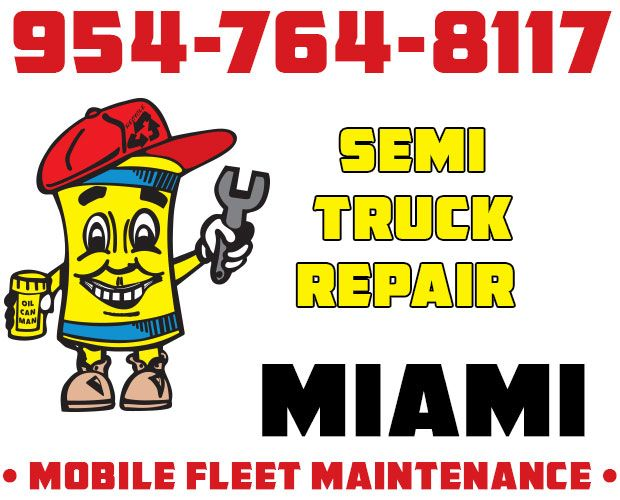 954-764-8117 Miami Semi Truck Repair. Semi Services do Include Curb Trucks. Electricians and Cab Modifications on Location. Body Work Also. Any and All Parts with After-Market Options. Call Dispatch.  http://oilcanman.com/semi-truck-repair-miami/  #SemiTruckRepairMiami #MiamiSemiTruckRepair #SemiRepairMiami #MiamiSemiRepair   Oil Can Man 954-764-8117 730 NW 7th St Oakland Park, FL 33311 Repairs@OilCanMan.com www.OilCanMan.com