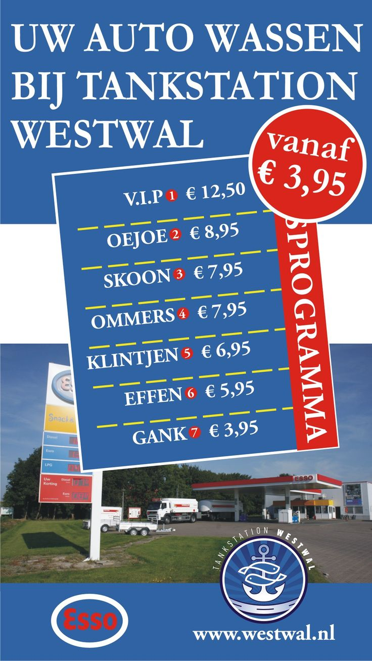 Uw auto wassen bij tankstation Westwal  vanaf €3,95