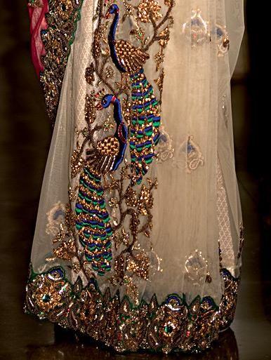 Peacock Design Zardosi Resham Work Saree