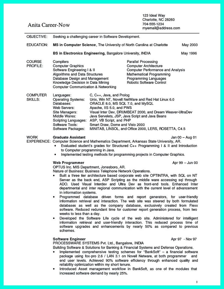 In a computer science resume for fresher, the person involved has to state all academic details, the person's principal objective and all such the major. What You Will Include In The Computer Science Resume Depends On The Training As Well As The Previous Resume Objective Examples Computer Science Science Student