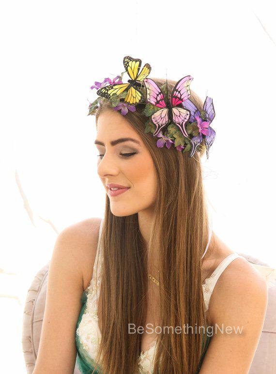 Мать Природа Хэллоуин Цветы Корона Костюм аксессуары, Бабочка Принцесса Лесной цветок Halo Хеллоуин костюм повязка Бабочка Корона