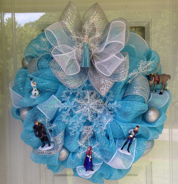 Frozen Elsa Anna Olaf Light Up Snowflake Deco Mesh Ribbon Wreath Wall Decor on Etsy, $120.00