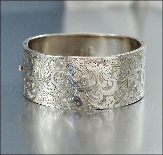 Sterling Silver Bangle Bracelet Antique Jewelry by boylerpf, $245.00