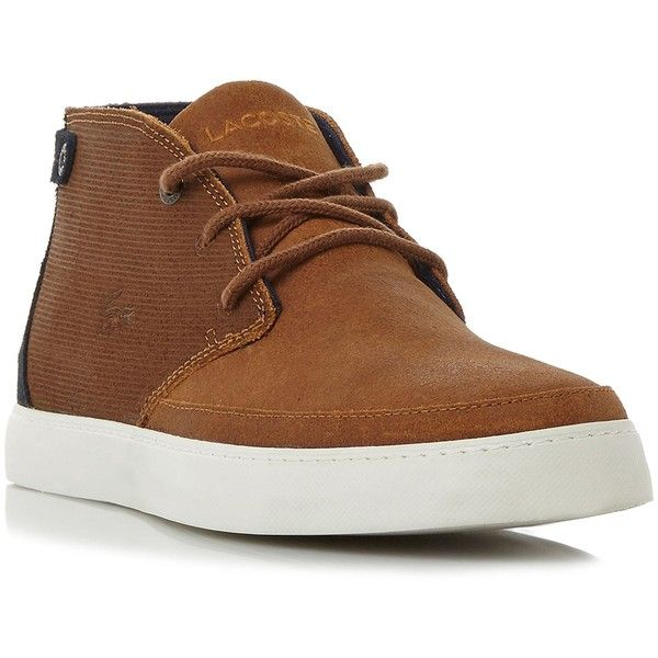 Lacoste Clavel Cupsole Chukka Boots ($71) ❤ liked on Polyvore featuring men's fashion, men's shoes, men's boots, mens suede shoes, mens suede boots, mens lace up boots, mens shoes chukka boots and mens suede chukka boots