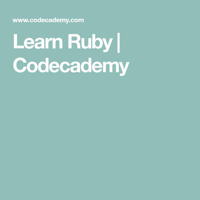 Learn Ruby | Codecademy