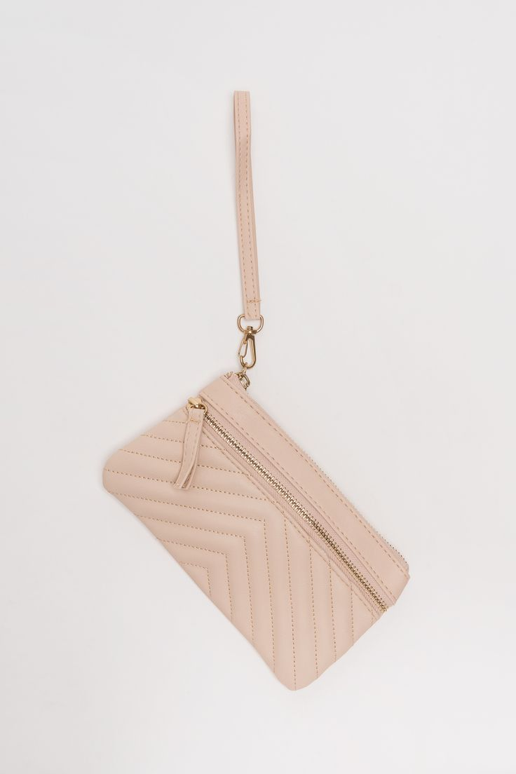 Super-cute chevron quilted pale pink wristlet from Ardene.