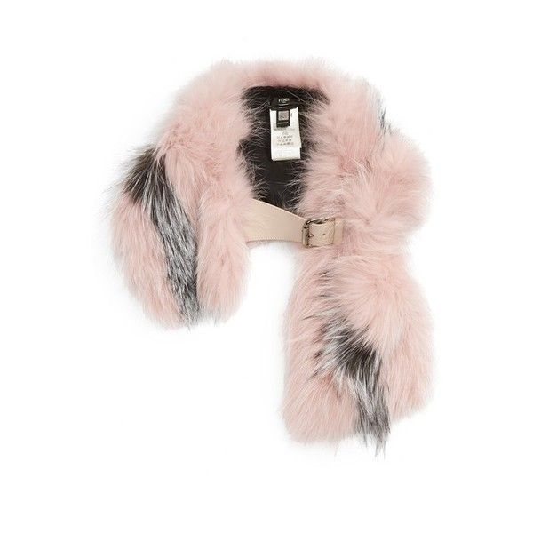 Women's Fendi Leather Trim Bicolor Genuine Fox Fur Stole ($2,700) ❤ liked on Polyvore featuring accessories, scarves, pink, fendi, fendi scarves, fox fur stole, pink scarves and pink shawl