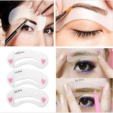 3 Styles Eyebrow Grooming Stencil Kit Template MakeUp Shaping Beauty DIY Tools J