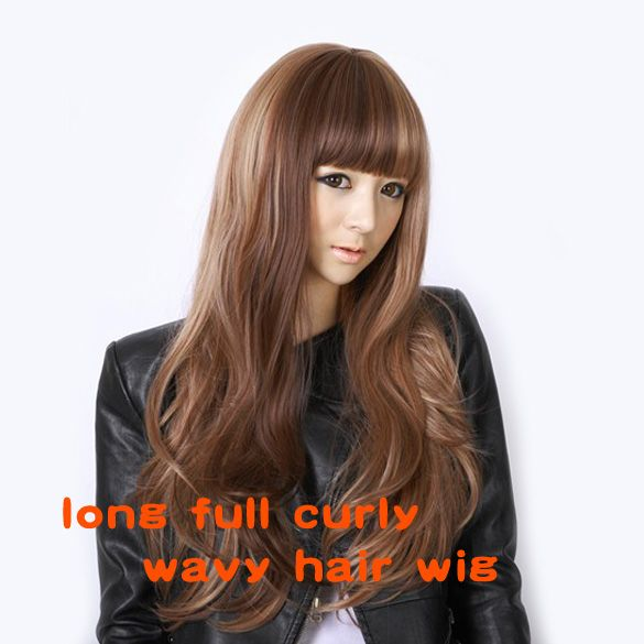 Fashion Stylish Long Full Bangs Curly Wavy Party Lady Girl Yellow Flax Hair Wig For Women HB88