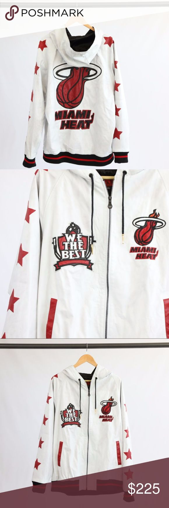 YEKIM Custom White Leather Hooded Jacket YEKIM custom white leather hooded jacket with We The Best and Miami Heat logos on chest. Red stars down each arm and large Miami Heat Logo on back. YEKIM Jackets & Coats