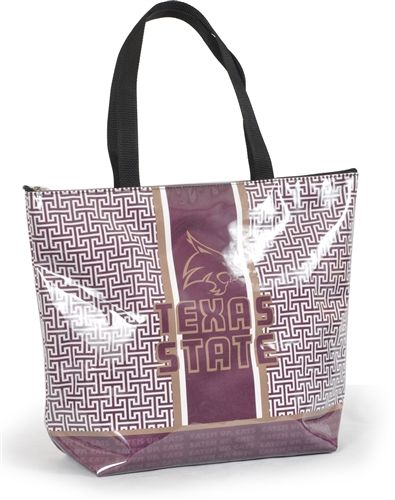Greek Key - Texas State University	 Eat 'Em Up Cats! Toss this cute Texas State University tote over your shoulder and head out the door! Our greek key patterned Texas State shopper tote will be your favorite go to bag for Texas State Bobcat Tailgate time or any occasion! $34 from www.desden.com