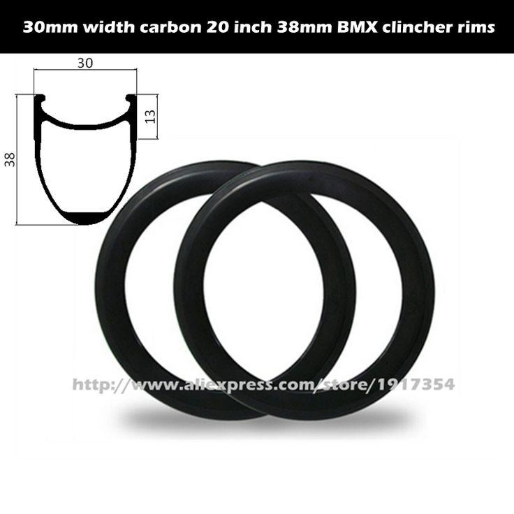 20er 30mm width 38mm deep carbon BMX rims clincher rims BSD 406mm, 20inch carbon rims for BMX Racing wheels