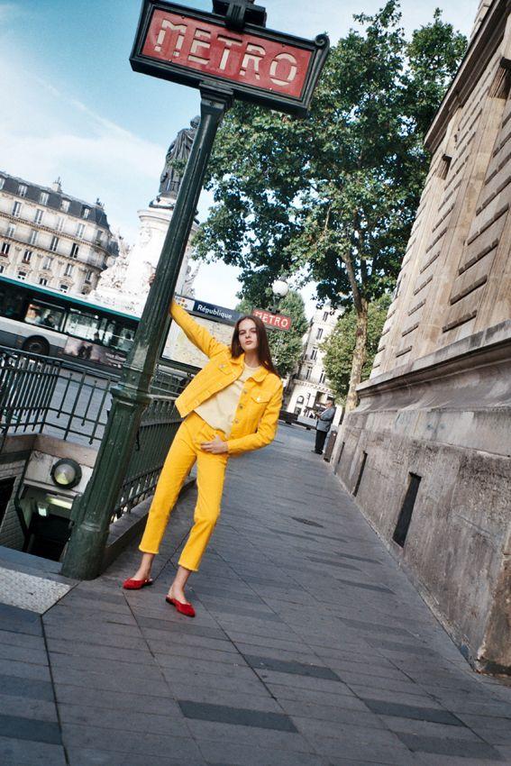 Aylah wearing Vale Denim yellow denim jacket and jeans