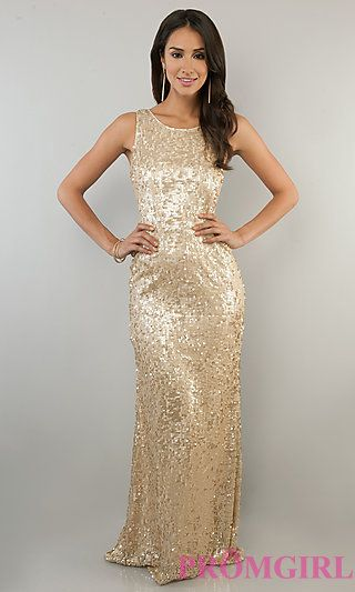 Myklins Maid of honor dress. Sleeveless Sequin Gown for Prom at PromGirl.com