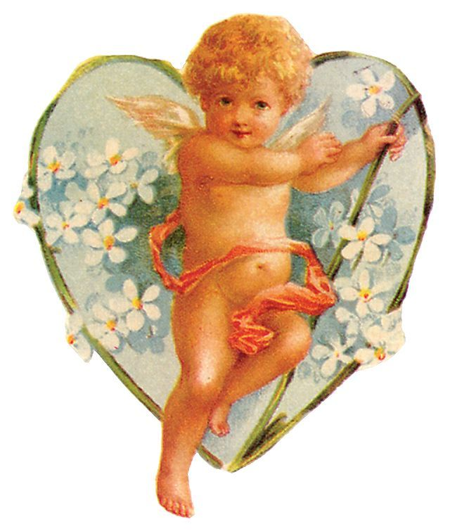 free vintage valentine hearts clip art flower angel and