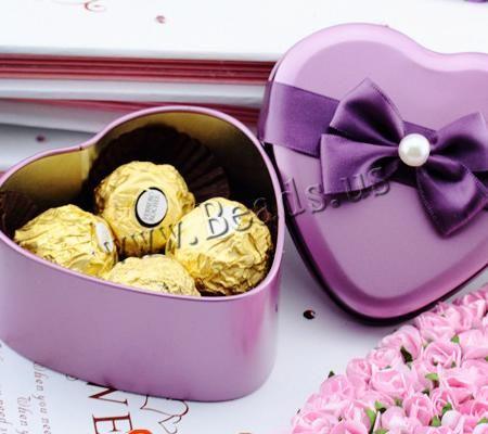 Caja de Caramelos para Boda, fundición, con Cinta de satén & Perlas de vidrio, Corazón, Púrpura, 95x95x43mm, 50Unidades/Grupo, Vendido por Grupo,Abalorios de joyería por mayor de China
