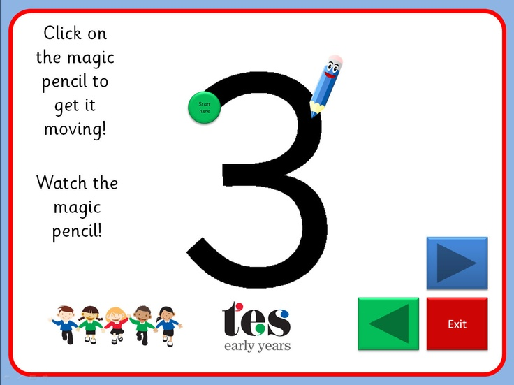 Engaging interactive screens to show formation of numbers 0-9. Each number shows the starting point and the magic pencil animates the correct formation.