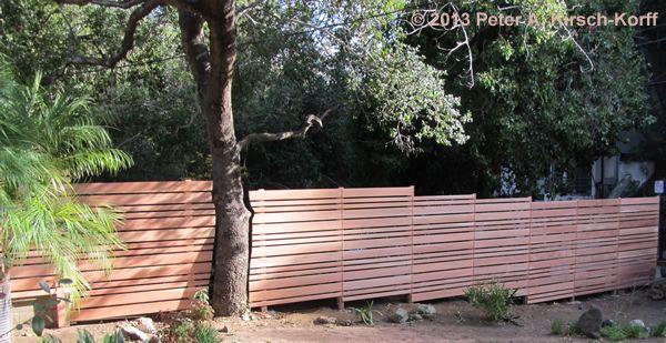 Stepped Custom Modern Horizontal Redwood Fence Laurel