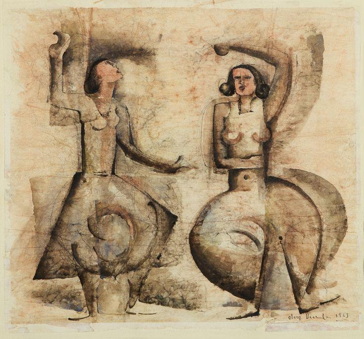 Olavi Vaarula: Kaksi naista, 1963, sekatekniikka, 46772x47x61 cm - Hagelstam K133