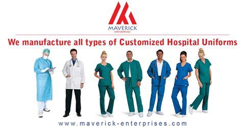 We manufacture all types of customized hospital uniforms Contact us for more details +91-9910396960, 8447774078 (India) +971-564610928, 565431631 (UAE) Email : info@maverick-enterprises.com Visit: www.maverick-enterprises.com