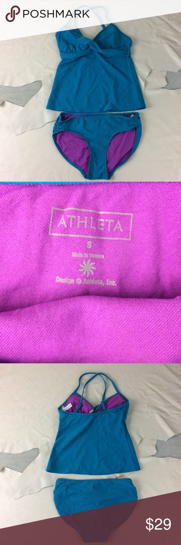 Athleta Swim 2 pc Tankini/Bikini Teal & Plum S Teal & purple Athleta 3 pc swimsuit. Tankini top (34B/32C Tall), bikini top (34B/32C and hi cut bikini bottom (S) Athleta Swim Bikinis